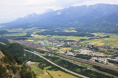 Ναυπηγείο Villach-Fürnitz, Αυστρία σιδηροδρόμων στοκ φωτογραφία
