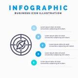 Ναυσιπλοΐα, πλοηγός, πυξίδα, εικονίδιο γραμμών θέσης με το υπόβαθρο infographics παρουσίασης 5 βημάτων διανυσματική απεικόνιση