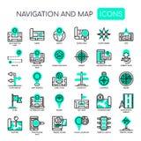 Ναυσιπλοΐα & χάρτης, τέλεια εικονίδια εικονοκυττάρου απεικόνιση αποθεμάτων
