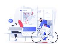Ναυσιπλοΐα app με το χάρτη και την καρφίτσα θέσης Έννοια εφαρμογών ικανότητας και καταδίωξης κινητή ελεύθερη απεικόνιση δικαιώματος