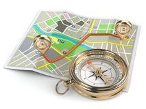 Ναυσιπλοΐα και έννοια ΠΣΤ. Πυξίδα και χάρτης. ελεύθερη απεικόνιση δικαιώματος