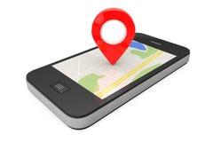 Ναυσιπλοΐα μέσω Smartphone Δείκτης θέσης στο τηλέφωνο με το χάρτη 3 διανυσματική απεικόνιση