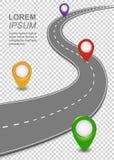Ναυσιπλοΐα οδικών τρόπων infographic Πρότυπο εθνικών οδών με έναν curvy αυτοκινητόδρομο αυτοκινήτων, Roadmap με τις καρφίτσες χαρ απεικόνιση αποθεμάτων