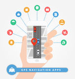 Ναυσιπλοΐα ΠΣΤ apps στο κινητό τηλέφωνο Έννοια οδικής ναυσιπλοΐας με το χάρτη, την καρφίτσα και το δρόμο πόλεων με τα αυτοκίνητα διανυσματική απεικόνιση