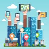 Ναυσιπλοΐα χαρτών ΠΣΤ αστικής περιοχής μέσω των συσκευών ελεύθερη απεικόνιση δικαιώματος