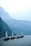 Ναυσιπλοΐα Zixi στοματικών αλυσίδων φαραγγιών Wu ποταμών Badong Yangtze Hubei Στοκ φωτογραφίες με δικαίωμα ελεύθερης χρήσης