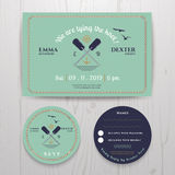 Ναυτικά δίδυμα γαμήλια πρόσκληση κουπιών και σύνολο προτύπων καρτών RSVP Στοκ Εικόνα