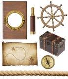 Ναυτικά αντικείμενα καθορισμένα απομονωμένα Στοκ Εικόνες
