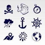Ναυτικά εικονίδια καθορισμένα Στοκ εικόνες με δικαίωμα ελεύθερης χρήσης