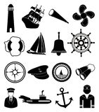 Ναυτικά εικονίδια ναυτικών καθορισμένα Στοκ εικόνα με δικαίωμα ελεύθερης χρήσης