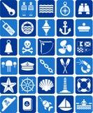 Ναυτικά και θαλάσσια εικονίδια ελεύθερη απεικόνιση δικαιώματος