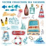 Ναυτική συλλογή στοιχείων Watercolor διανυσματική απεικόνιση