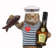 Ναυτικός γατών με τα ψάρια και το ρούμι Στοκ φωτογραφίες με δικαίωμα ελεύθερης χρήσης