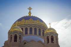 Ναυτικός καθεδρικός ναός του Άγιου Βασίλη σε Kronstadt Στοκ Εικόνες