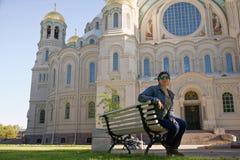 Ναυτικός καθεδρικός ναός Nikolsky σε Kronshtadt στοκ εικόνες