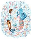 Ναυτικός και γοργόνα Watercolor ερωτευμένοι που περιβάλλει από τα κύματα doodle, αστέρι θάλασσας, θαλασσινό κοχύλι διανυσματική απεικόνιση