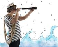 Ναυτικός με το τηλεσκόπιο στοκ φωτογραφίες με δικαίωμα ελεύθερης χρήσης