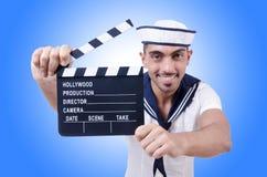 Ναυτικός με clapper κινηματογράφων Στοκ εικόνες με δικαίωμα ελεύθερης χρήσης