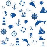Ναυτικό άνευ ραφής σχέδιο, διανυσματική απεικόνιση απεικόνιση αποθεμάτων