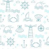 Ναυτικό άνευ ραφής σχέδιο με τα λεπτά στοιχεία γραμμών ελεύθερη απεικόνιση δικαιώματος