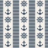 Ναυτικό άνευ ραφής σχέδιο. Διανυσματική απεικόνιση. Στοκ Φωτογραφίες