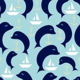 Ναυτικό άνευ ραφής σχέδιο με τα δελφίνια, τις πλέοντας βάρκες και το ancho Στοκ Φωτογραφία