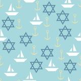 Ναυτικό άνευ ραφής σχέδιο με το αστέρι του Δαυίδ, πλέοντας βάρκες και Στοκ Φωτογραφία