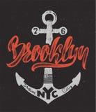 Ναυτικό σχέδιο, εκτύπωση μπλουζών του Μπρούκλιν σχεδίων χεριών Στοκ εικόνα με δικαίωμα ελεύθερης χρήσης