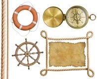 Ναυτικό σχοινί αντικειμένων, χάρτης θησαυρών, lifebuoy, Στοκ Φωτογραφία