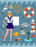 Ναυτικό σύνολο εικονιδίων, εικόνες κρουαζιέρας Διανυσματικά στοιχεία σχεδίου ελεύθερη απεικόνιση δικαιώματος