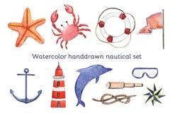 Ναυτικό σύνολο θάλασσας Watercolor συρμένο χέρι Στοκ Εικόνες