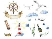 Ναυτικό σύνολο Watercolor Θαλάσσια εικονίδια διανυσματική απεικόνιση