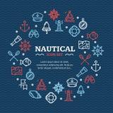 Ναυτικό ταξίδι θάλασσας γύρω από την έννοια εικονιδίων γραμμών προτύπων σχεδίου διάνυσμα Στοκ Εικόνες