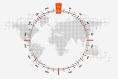 Ναυτικό ταξίδι παγκόσμιων χαρτών διαστιγμένος κόσμος χαρ&tau Η κλίμακα είναι 360 Ελεύθερη απεικόνιση δικαιώματος