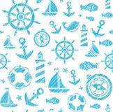 Ναυτικό υπόβαθρο, άνευ ραφής, άσπρος-μπλε, διάνυσμα ελεύθερη απεικόνιση δικαιώματος