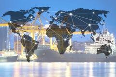 Ναυτιλία φορτηγών πλοίων εμπορευματοκιβωτίων λογιστική oversea παγκοσμίως Στοκ εικόνες με δικαίωμα ελεύθερης χρήσης