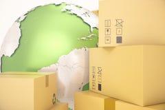 Ναυτιλία κουτιών από χαρτόνι και παγκόσμια επιχειρησιακή έννοια παράδοσης, σφαίρα γήινων πλανητών τρισδιάστατη απόδοση Στοιχεία α Στοκ Φωτογραφίες