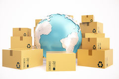 Ναυτιλία κουτιών από χαρτόνι και παγκόσμια επιχειρησιακή έννοια παράδοσης, σφαίρα γήινων πλανητών τρισδιάστατη απόδοση Στοιχεία α Στοκ εικόνες με δικαίωμα ελεύθερης χρήσης