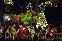 Ναυλωμένος πρότυπα μαραθώνιος σκηνής οδών Χριστουγέννων Στοκ Εικόνες