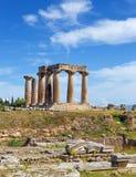 Ναός απόλλωνα, αρχαίο Corinth, Ελλάδα Στοκ φωτογραφίες με δικαίωμα ελεύθερης χρήσης