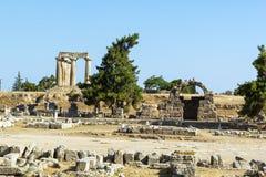 Ναός απόλλωνα σε αρχαίο Corinth, Ελλάδα Στοκ Εικόνες