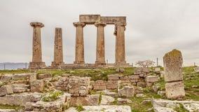 Ναός απόλλωνα σε αρχαίο Corinth, Ελλάδα Στοκ φωτογραφίες με δικαίωμα ελεύθερης χρήσης