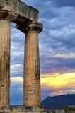 Ναός απόλλωνα σε αρχαίο Corinth Ελλάδα Στοκ Φωτογραφία