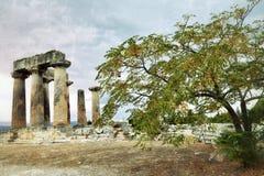 Ναός απόλλωνα σε αρχαίο Corinth Ελλάδα Στοκ εικόνα με δικαίωμα ελεύθερης χρήσης