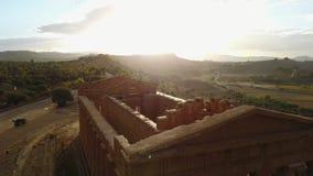 Ναός αρχαίου Έλληνα Concordia VVI αιώνας Π.Χ., κοιλάδα των ναών, Agrigento, Σικελία απόθεμα βίντεο
