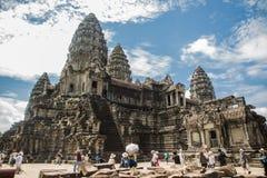Ναός κατά την άποψη της Καμπότζης Angkor Wat του εσωτερικού του κτηρίου Στοκ φωτογραφία με δικαίωμα ελεύθερης χρήσης