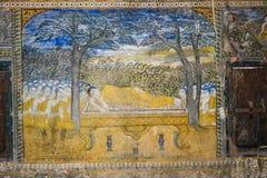 Ναός με την παλαιά ζωγραφική για το νόμο του karma από το έτος 1928 Στοκ Εικόνα