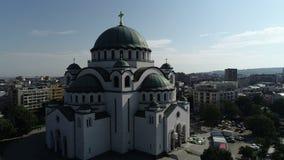 Ναός του ST Sava, Βελιγράδι, εναέρια άποψη απόθεμα βίντεο