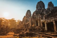 Ναός Angkor Thom, Καμπότζη Bayon αγαλμάτων Στοκ Εικόνες