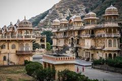 Ναός Galtaji πιθήκων, στο τέλος της ημέρας, Jaipur, Rajasthan, Ινδία Στοκ εικόνα με δικαίωμα ελεύθερης χρήσης